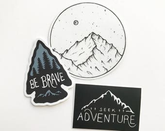 Adventure Sticker Pack. Mountain Vinyl Sticker Set Laptop Sticker Be Brave Sticker Car Decal Bumper Sticker Outdoors Explore MacBook Decals
