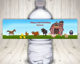 Farm Water Bottle Labels, Barnyard Birthday Party, Farm Animals, Country, Personalized, Waterproof