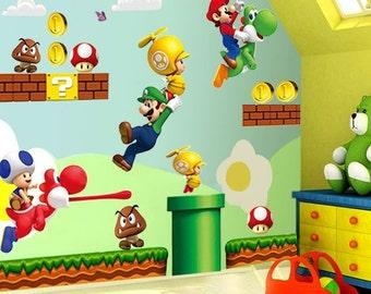 Large Super Mario Bros Kids 44 Removable Wall Sticker Decals Nursery Decor Vinyl