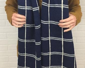 Oversize Knit Plaid Scarf