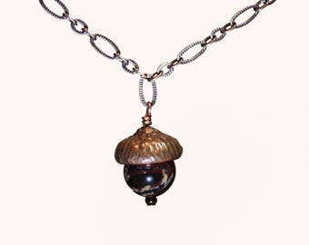 Handmade Copper Acorn Necklace with Stone Accent
