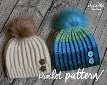 Crochet Hat PATTERN No.88 - Winter Beanie, Winter Hat Crochet Pattern