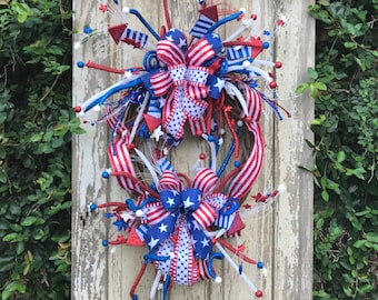 Large 4th of july wreath,Americana Wreath,Patriotic wreath,USA wreath,Fourth of July Wreath, USA Wreath,Stars and stripes wreath, USA swag