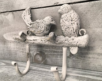 Bird Hooks Cast Iron Birds On Tree Limb Decorative Wall Hook, Hand Painted With Distressed Process Of White Over Bronze, Item #498816542