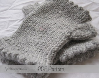 PDF FILE - Dorset Mitts Child Size - Handwarmer Knitting Pattern - Fingerless Mitts Knitting patterns for little girls