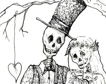 Skeleton Art, Day of the Dead, October Wedding, Skeleton bride, Dios De Los muertos, Halloween wedding, giclee print