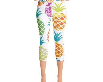 Tropical Pineapple YOGA Capri Leggings multi-color pattern