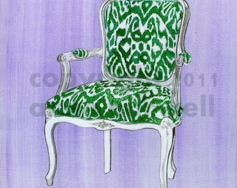 GREEN IKAT CHAIR Print