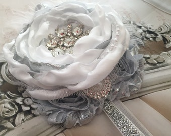 Christening, Holiday, Christmas Headband White and Silver Satin Singed Flower Headband