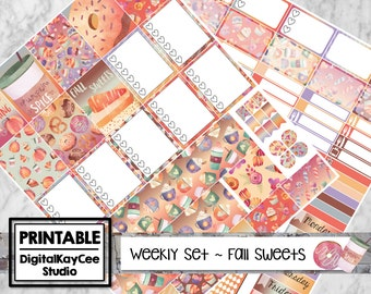 PRINTABLE Watercolor Fall Sweets / Weekly Set / Erin Condren Life Planner / Vertical / Planner Stickers / MAMBI
