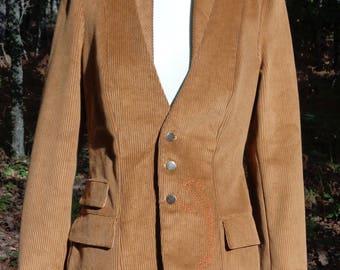 Camel corduroy shawl collar jacket.