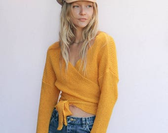 Yellow Knit Wrap Sweater