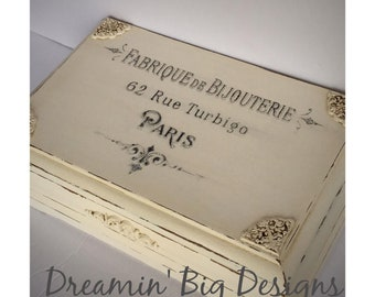 Hand Painted French Inspired Jewelry Box, Fabrique de Bijouterie, Paris, French Vanilla, Paris Advertising, Gift for Mom, Daughter, Wife