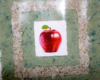 Handmade card made from recycled paper!  Apple design.