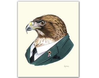 Red-tailed Hawk art print 5x7