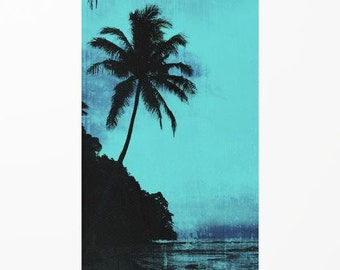 Tropical woven area rug, silhouette palm tree floor covering, island style interior decorating