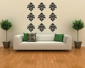 Large Damask Wall Decals 9 pack FREE SHIPPING