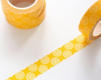Dot Yellow Washi Tape 15mm/ Masking Tape/ Deco Tape/ Birthday Wedding Party Washi Tape Pretty Packaging/ Tropical Washi Tape