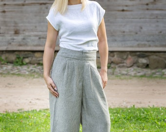 Cropped linen trousers,striped pants, linen trousers, linen pants, modern pants, plus size, comfortable pants