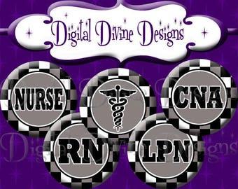 Masculine Nurse - 1 inch round digital graphics - Instant Download