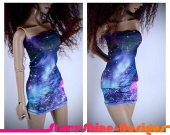 BJD MSD 1/4 Doll Clothing - Galaxy Print Tube Dress