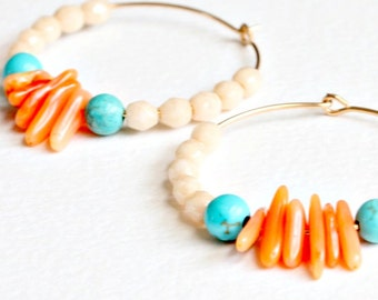 Turquoise and Coral Gemstone Hoops, Gold Filled Hoops, Sterling Silver Hoops,