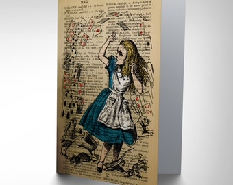 Greetings Card Birthday Gift Upcycle Dictionary Alice Wonderland Cards CP2880