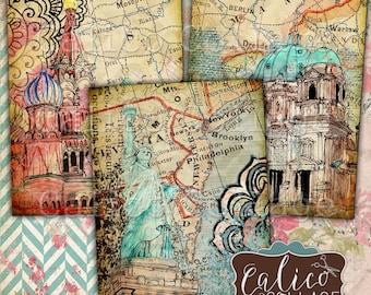 Bedruckbar, Travelin ' durch, Digital, Collage Blatt, Reisen, Bilder, Vintage-Karten, Weltreisen, Karte machen, Kunst-Karten, druckbare Karten