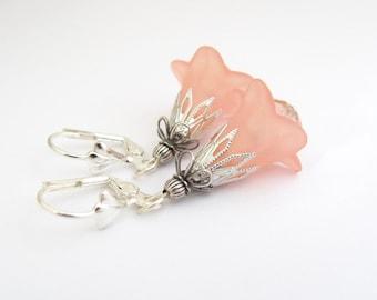 Peach Trumpet Flower Dangle Earrings Spring Flowers Dangle Drop Woodland Fairy Boho Bohemian Artisan Handmade USA Hawaiian Jewelry