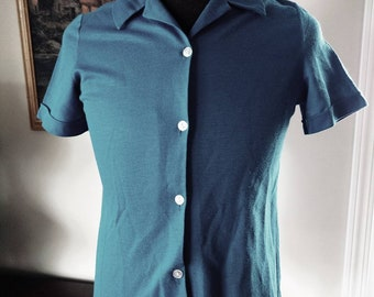 Vintage Blue Polyester Button Shirt with Collar Size 14