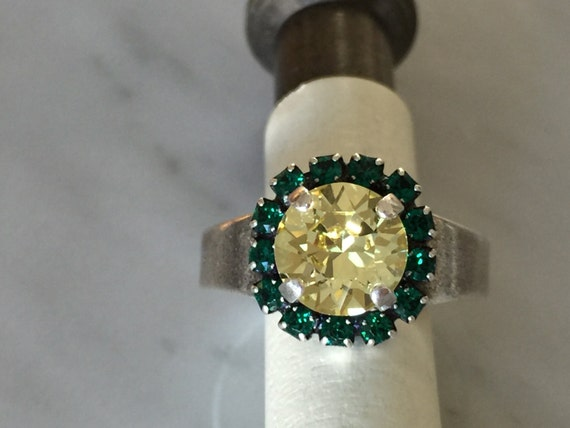Swarovski Jonquil Ring, Swarovski Jonquil and Emerald Ring, Swarovski Yellow Ring, Jonquil Crystal Ring, Emerald Crystal Ring
