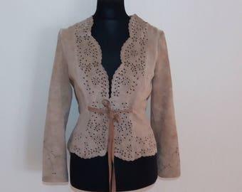 Suede Sand Beige Genuine Leather Jacket Medium Size