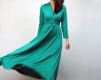 70s Green Dress Long Sleeve Maxi Grecian Goddess Gown Draped Floor Length Party Dress - Medium to Large M L