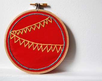 Bunting Embroidery Circle, Wall Hanging, red, yellow, chartreuse in 4 inch Hoop