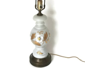Vintage Table Lamp by Bavarian Bristol - Beautiful Hand Painted Lamp