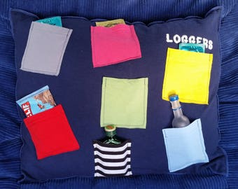Loggers Shindig-Upcycled Safe-Sex Pillow, w/ Condom & Lube Pockets, OOAK, navy blue, tavern, Sultan, Washington, bar, beer, booze, party