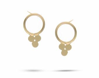 Plus Gold Stud Earrings, 14k Gold Circles Earrings, Triple earrings , Bubbles Post Earrings