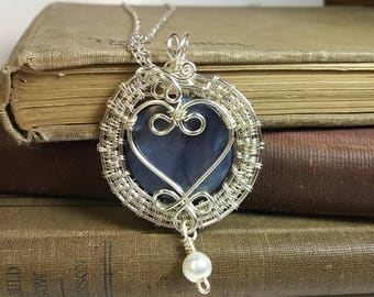 Valentines Day Blue and Sterling Silver Wire Wrapped Pendant