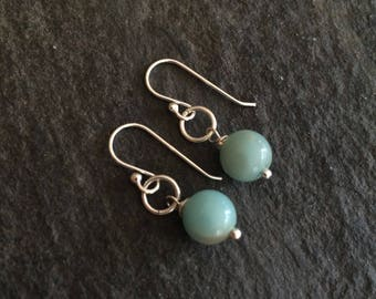 Small green Amazonite gemstone bead earrings - Sterling Silver or 14K Gold Fill