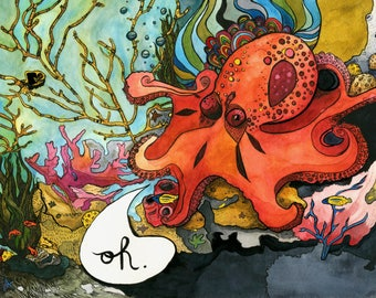 Giant Pacific Octopus Print (8x10)