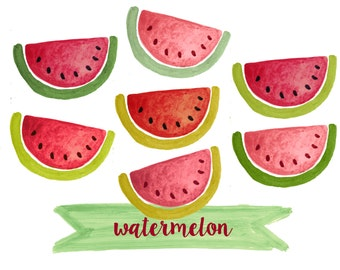 Watermelon clipart, fruit clipart, watercolor fruit clipart, watercolor watermelon clipart