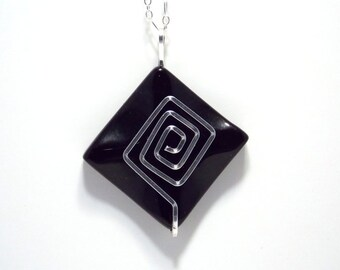 Stone Pendant Sterling Silver Necklace Wire Wrapped Jewelry Square Spiral Minimalist Design