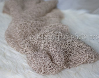 Fabric Lace Wrap Beige Tan Newborn Photography Prop Posing Swaddle