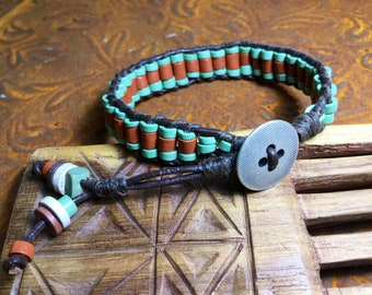 Beaded wrapped boho, bohemian, hippie, mens Bracelet