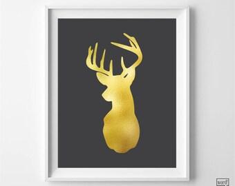 Matte Gold Deer Print, Deer Antlers Print, Deer Wall Art, Deer Art, Nursery Decor, Stag Art print, Gold Wall Art, Gold Bedroom Decor