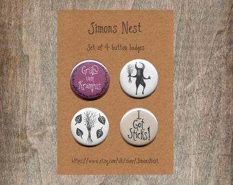"""Krampus Badge Set - Pack Of 4 Creepy Gruß vom Krampus 25mm 1"""" Button Pin Badges - Winter Twigs Krampusnacht Alternative Christmas Gift"""