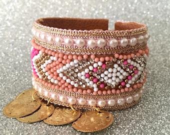 Blush bracelet, Gold rose bracelet, Wide bracelet, Cuff bracelet, Large bracelet, Ethnic bracelet, Coin bracelet, Pale pink bracelet, Aztec