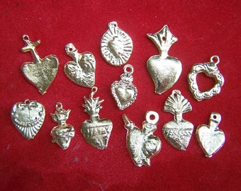 Lot of 50 ALL HEARTS GOLDEN Brass Milagros