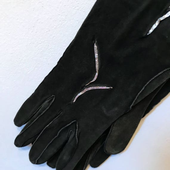 Vintage evening gloves 1920s 1930s black suede silver leather inlay long length size 6 6.5 glam pin up 1940s gloves 40s