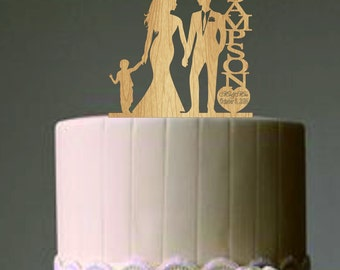 family wedding cake topper with little boy, bride and groom silhouette, rustic cake topper, unique wedding cake topper, Mr and Mrs topper